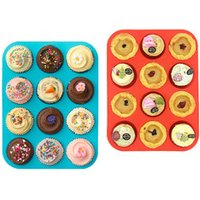 BHD FDA and BPA free Non-stick 12 Cup Reusable Silicone Baking Cups Cupcake Liners Muffins Cup Molds