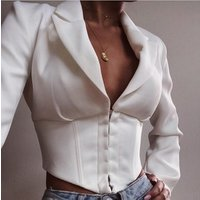 X89201B summer deep v ladies sexy thin blazer jacket coat