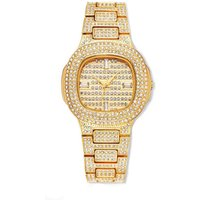 Hip Hop Luxury Square Quartz Waterproof Wristwatch,Gold Diamond Mens Iced Out Watch,2019 Fashion Charm Luxury Wrist Watch