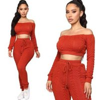 New Arrivals Autumn Fashion Women Off Shoulder Long Sleeve Crop Top Slim Pants 2 Pieces Set Solid Knitted Outfits Jumpsuit