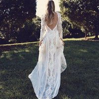 Hot Sale Bohemian Long Sleeve Girls  Bride Gown Beach Bridal GownsWedding Dress 2019