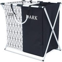 Double Sorter Lights Darks Clothes Storage Foldable Laundry Basket With Aluminum Alloy Handle Net Coverings Black And White