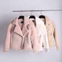 Womens fashion solid color suede Rabbit plush locomotive jacket women top Short thick Spliced Fur Coat