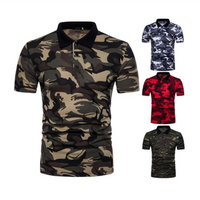 Camouflage cheap Polo Shirt  Men Short Sleeve Slim Printed Tee Top Fitness Fashion Male Shirts Plus Size Summer Casual Polos