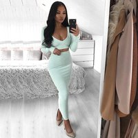 Wholesale usa dropshipping bodycon 2 piece crop top and pencil long skirt set for women