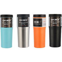 16oz powder coated double wall stainless steel tumbler vacuum flask cup with logo