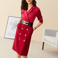 Fashion Double Breasted V Neck Women Bodycon Dress Red Long Sleeve Pencil Dresses For Office Lady