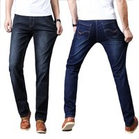 Mens Jeans Classic Direct Stretch Dark Blue Business Casual Denim Pants Slim Scratched Long Trousers