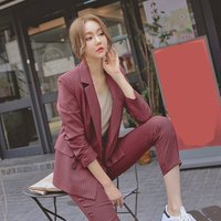 New Korean Womens Suits Striped Black White Gray Blazer with Nine Pants Female Double-breasted Office Two Piece Suit Women