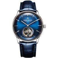 Reef Tiger /Blue Tourbillon Automatic Men Watches Casual Men Watch Elegant Wristwatch Blue Dial Stainless Steel Case  RGA1930