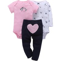 Baby Girls Wholesale Boutique Clothing Baby Rompers Set 3PCS Newborn Baby Clothing Sets