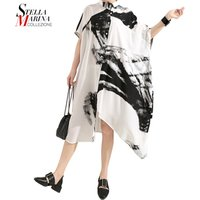 Hot Selling Oversize Batwing Sleeve Lapel Shirt Dress Black White Graffiti Printed Casual Wear Women Blouse Dresses 5124