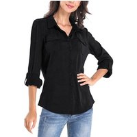 Ladies Casual Turn-Down Collar Shirts  Long Sleeve New Design Button down Blouse