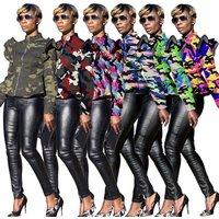 81225-MX18 falbala camouflage printed short  jacket  for women