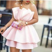 Women Yellow Party Dress Mini Sexy Pleated Patchwork Off Shoulder Backless Lady Clubwear Dinner Evening Tunic Femme Robes Spring