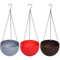 D816 Outdoor Garden Plant Basket Round Rattan Plastic Hanging Planter Flower Pot