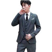 Mens Suits 3 Piece Jacket Vest Trousers Slim Fit Wedding Formal Tuxedo One Button Close Blazers for Men