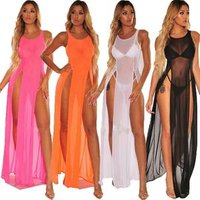 2019 Womens Bikini Swimsuit Cover up Silk Summer Beach Wear Mesh Sheer Long Dress Summer Bathing Suit Holiday Hot One Piece