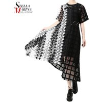 2019 Women Summer Long Black White Lace Dress Hollow Out Girls Evening Night Party Sexy Club Asymmetrical Dress Party Robe Femme