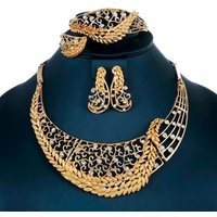 Gold Nigerian Wedding African Beads Jewelry set Crystal Necklace Bracelet Earrings Jewelry Set