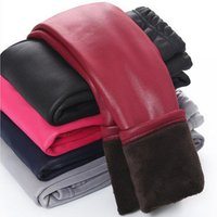 PU winter thick thermal pants wholesale pure color fuzzy kids leggings