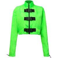 Buckle Zipper Neon Green Cropped Bomber Jacket Women Streetwear Coat Windbreaker Fashion Fall Winter