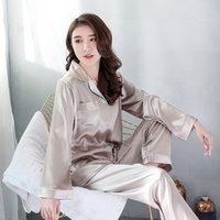 Autumn winter pajama female korean imitation silk pajamas, long sleeve cardigan V neck ice silk christmas pajamas, women pajamas