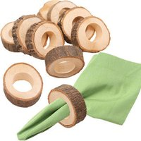 D874 Birthday Party Bar Wedding Table Decoration Rustic Vintage Wooden Napkin Ring