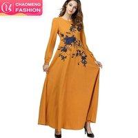 7417# Women islamic clothing long sleeve cotton maxi dress women fancy clothes costumes muslim dresses