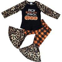 Wholesale Halloween Kids Boutique Clothing Baby Girls Outfits Pumpkin Cheetah Bell Bottom Pant Set
