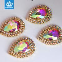 Fashion Ornaments Lace Trimming Embellishment Sew on Crystal Rhinestone Brooch Applique For Wedding Dress