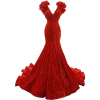 RSM66736 special cap sleeves v neck mermaid lace up long train red elegant evening dresses