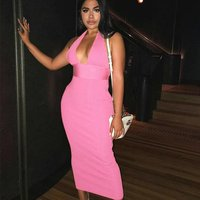 Wholesale prom summer party wear sexy deep v neck backless long evening dresses for women