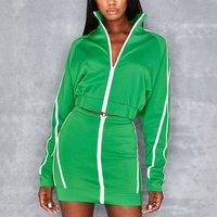 F1618B Lapel zipper lady fashion Hip skirt casual suit