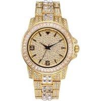 MISSFOX Mens Watches 2019 Baguette Diamond Men Luxury Brand 18K Gold Waterproof Rollex Watch Quartz Wristwatch V291