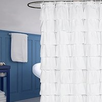 China supplier white water proof polyester fabric ruffled shower curtain
