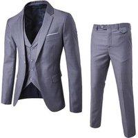 Slim Fit Men Suits Solid Color Suit Jacket Blazer + Vest + Pants Suits