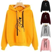 2019 New Fashion Womens Hooded Sweater Casual Printed Finger Heart Long Sleeve Solid Color Loose Tops Hoodies Coat