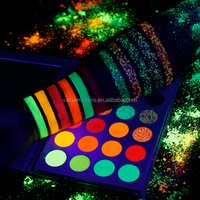 'Wholesale Halloween Eye Makeup Kit Uv-reactive Neon Pigments Eyeshadow Night Glow Cosmetic Glitters Glow In The Dark