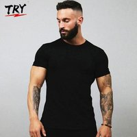 TRY Mens custom t shirt Tight-fitting muscle Mens Everyday Cotton Blend Short Sleeve mens t-shirts