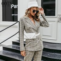OOTN Button Streetwear Women Blazers Jacket Long Sleeve Casual Office Ladies Blazer Coat Plaid Double Breasted Ladies Blazer