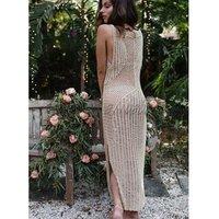 WINUP women sexy fashion crochet beach dress summer beach cover up