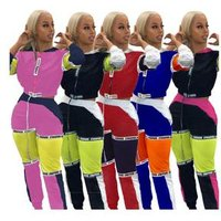 SAA3068 satin windproof patchwork color hooded short jacket and loose pants two piece casual women sweatsuit set