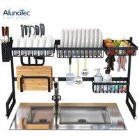 Multi-function 85cm Kitchen Storage Utensil Holder Drainer Over Sink Racks Stainless Steel Dish Rack