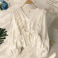 Boho Beach Summer Womens Tops and Blouses Elegant Ruffles V Neck Chiffon Blouse Loose tunic Shirt Ladies Plain blusa feminina