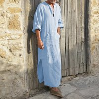 Man Full Length Cotton Linen Loose T Shirts Half Sleeve Maxi Muslim Style Islamic Men Robes Dress Kaftan Saudi Arabia EA11431