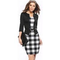 Wholesale Price Women Fashion Formal Dress Office Wear 3/4 Long Sleeve Elegant Business Party Slim Pencil Dress With Belt