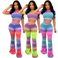 2019 hot MF7204 fashion printed crop top and pants two piece set women