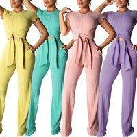 2019 Fashion Woman Clothes Round Neck Crop Top High Waist Pants Two Piece Set