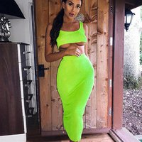 Dropshipping agent girls lady two piece pencil neon green crop top and long skirt dress